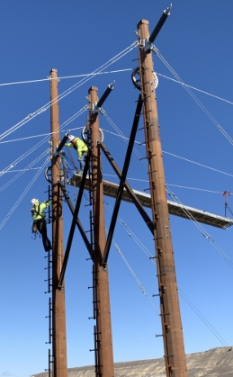 people on powerlines
