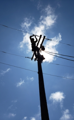 person on powerline